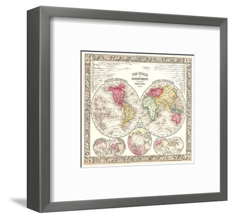 World in Hemispheres 1864-Mitchell-Framed Art Print