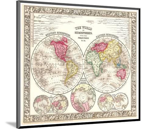 World in Hemispheres 1864-Mitchell-Mounted Art Print