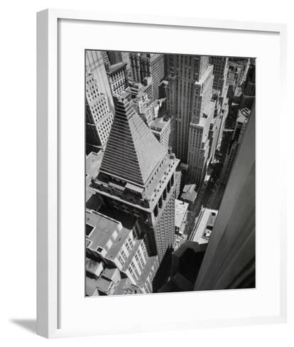 Wall Street, from the Roof of Irving Trust Co. Building, Manhattan-Berenice Abbott-Framed Art Print