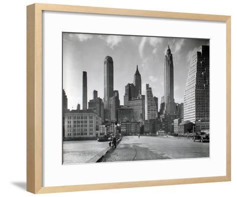 Manhattan Skyline - South Street and Jones Lane, Manhattan-Berenice Abbott-Framed Art Print