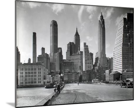 Manhattan Skyline - South Street and Jones Lane, Manhattan-Berenice Abbott-Mounted Giclee Print