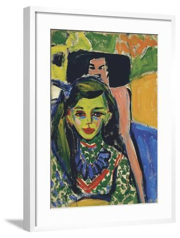 Fränzi in front of a Carved Chair, 1910-Ernst Ludwig Kirchner-Framed Art Print