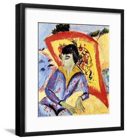 Erna with Japanese Umbrella-Ernst Ludwig Kirchner-Framed Art Print