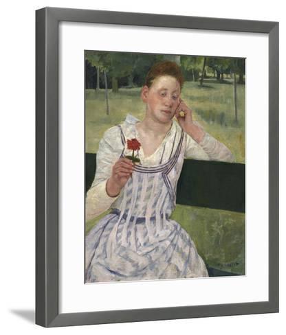 Woman with a Red Zinnia, 1891-Mary Stevenson Cassatt-Framed Art Print