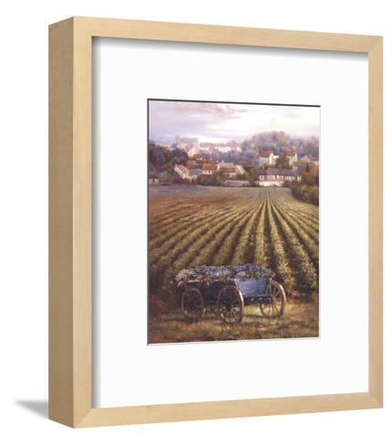 Grapes on Blue Wagon-Rosa Chavez-Framed Art Print