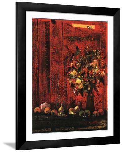 Mesa Con Mantel Rojo-Joaquin Hidalgo-Framed Art Print