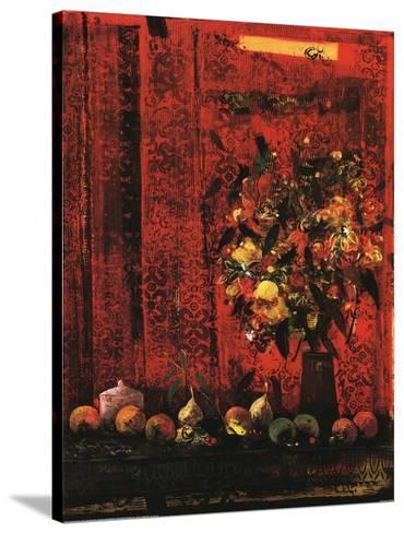 Mesa Con Mantel Rojo-Joaquin Hidalgo-Stretched Canvas Print