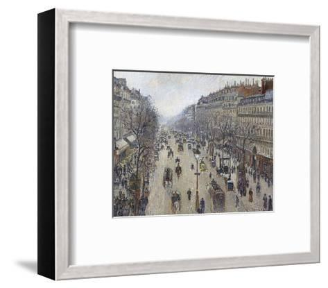 Boulevard Montmartre, Morning, Cloudy Weather, 1897-Camille Pissarro-Framed Art Print