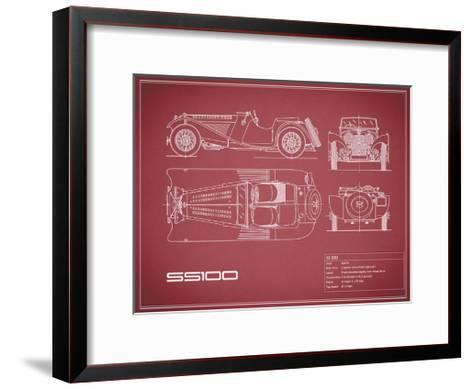 Jaguar SS-100-Maroon-Mark Rogan-Framed Art Print