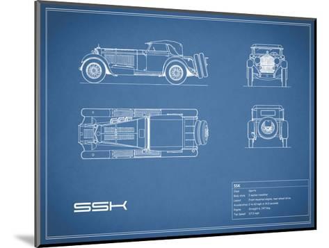 Mercedes SSK-Blue-Mark Rogan-Mounted Giclee Print