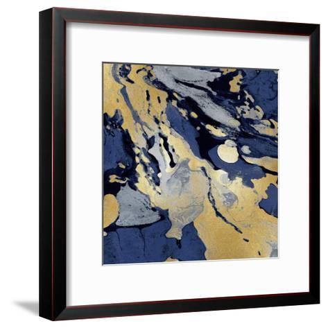 Marbleized in Gold and Blue I-Danielle Carson-Framed Art Print