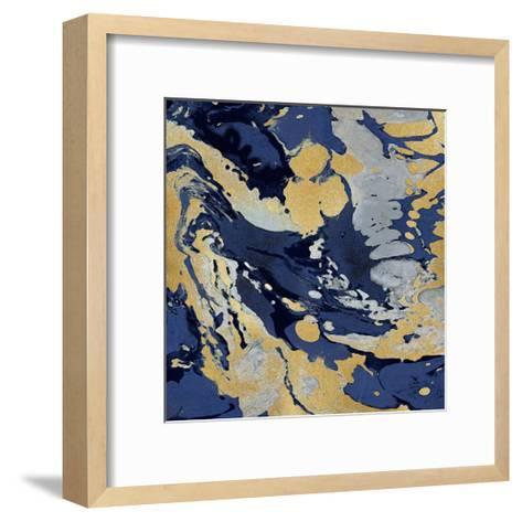 Marbleized in Gold and Blue II-Danielle Carson-Framed Art Print