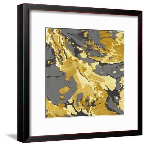 Marbleized in Gold and Grey I-Danielle Carson-Framed Art Print