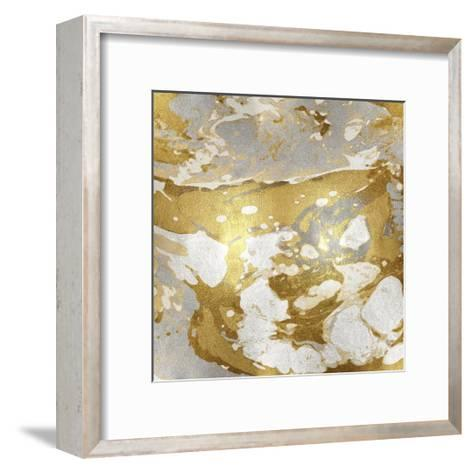Marbleized in Gold and Silver I-Danielle Carson-Framed Art Print