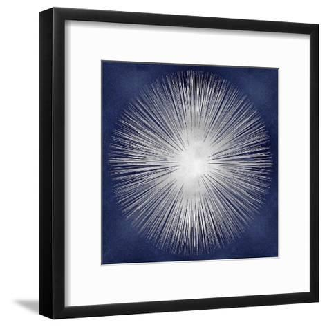 Silver Sunburst on Blue I-Abby Young-Framed Art Print