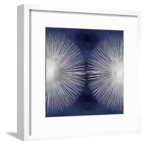 Silver Sunburst on Blue II-Abby Young-Framed Art Print