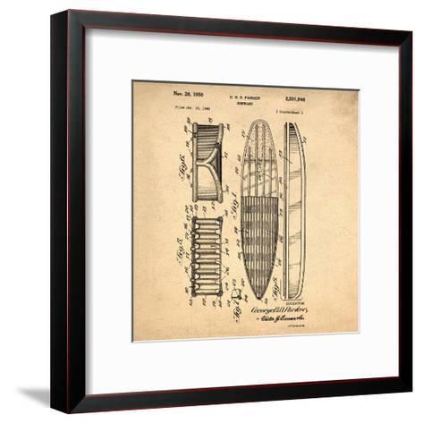 Surfboard, 1948-Antique-Bill Cannon-Framed Art Print