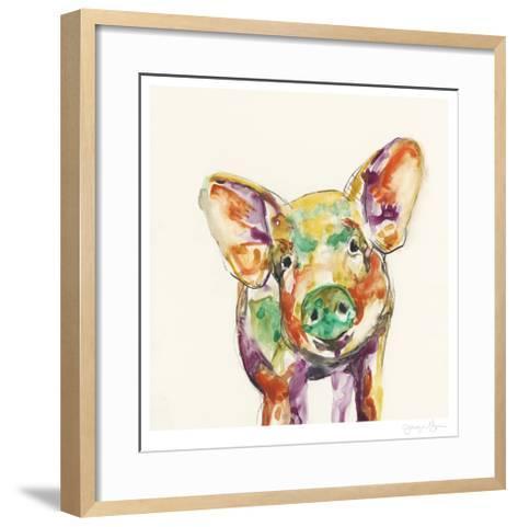 Hi Fi Farm Animals IV-Jennifer Goldberger-Framed Art Print