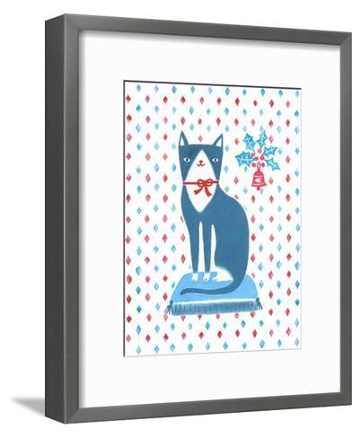 Blue Holiday Cat-Advocate Art-Framed Art Print