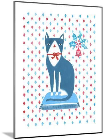Blue Holiday Cat-Advocate Art-Mounted Art Print