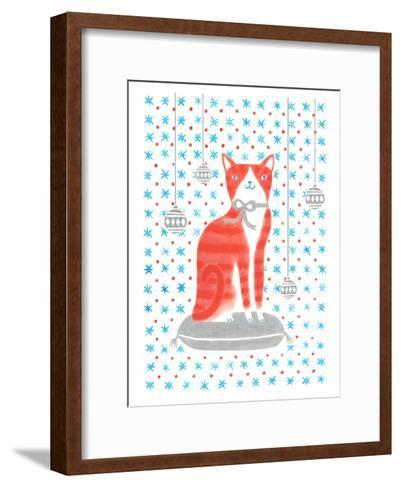 Orange Holiday Cat-Advocate Art-Framed Art Print