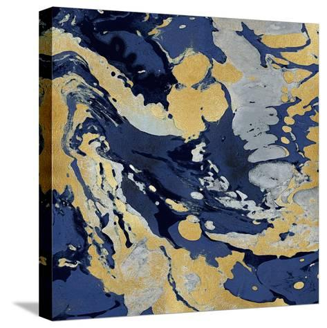 Marbleized in Gold and Blue II-Danielle Carson-Stretched Canvas Print