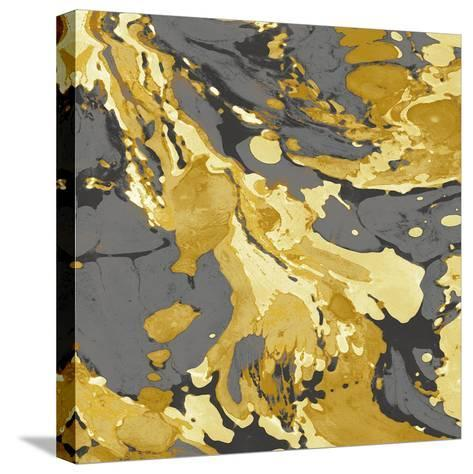 Marbleized in Gold and Grey I-Danielle Carson-Stretched Canvas Print