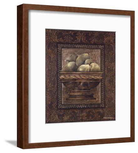 Rustic Bowl of Pears-Linda Thompson-Framed Art Print
