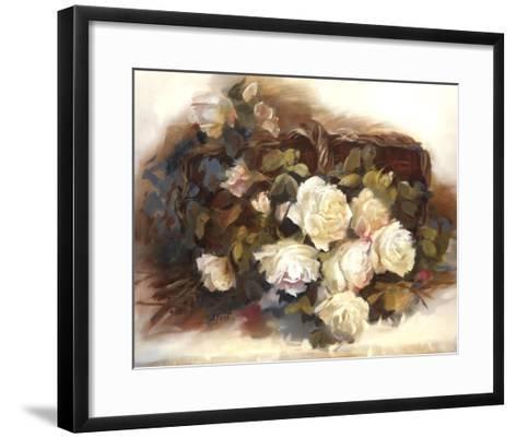 White Roses in Basket-Andrea Dern-Framed Art Print