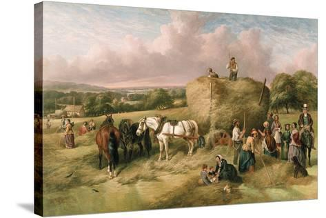 Haymaking-John James Wilson-Stretched Canvas Print