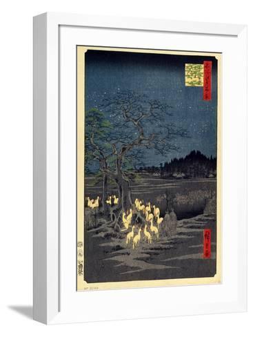 Foxes Meeting at Oji-Utagawa Hiroshige-Framed Art Print
