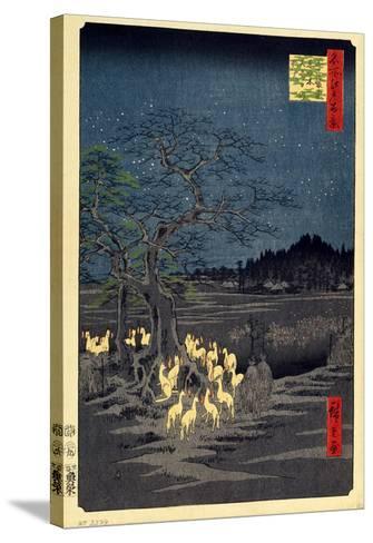 Foxes Meeting at Oji-Utagawa Hiroshige-Stretched Canvas Print