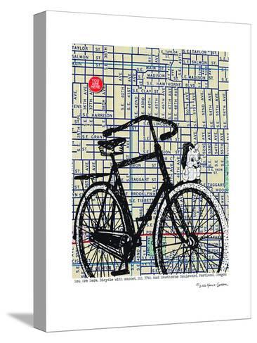 Bicycle On Hawthorne Portland--Stretched Canvas Print