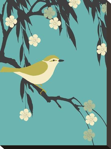 Bird On Branch-Ramneek Narang-Stretched Canvas Print