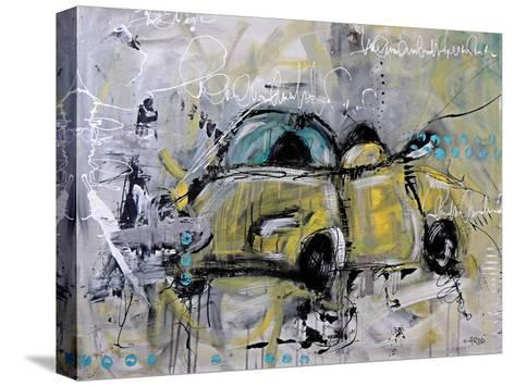 Car Yellow-Annie Rodrigue-Stretched Canvas Print