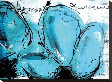Fleurs Turquoises-Annie Rodrigue-Stretched Canvas Print