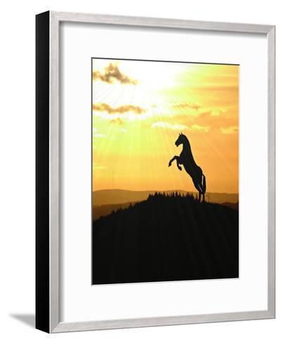 Horse Animal Farm Sunset-Wonderful Dream-Framed Art Print
