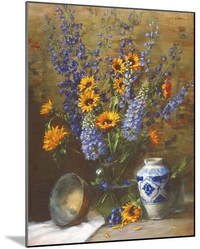 Delphiniums and Chinese Vase-Frank Janca-Mounted Giclee Print