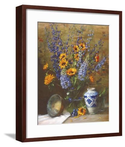 Delphiniums and Chinese Vase-Frank Janca-Framed Art Print