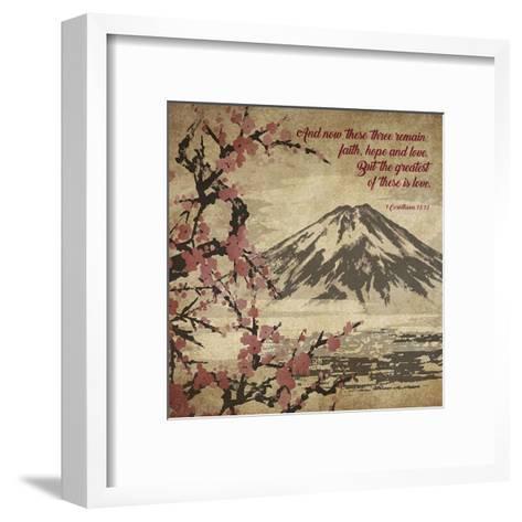 1 Corinthians 13:13 Faith, Hope and Love (Japanese)-Inspire Me-Framed Art Print