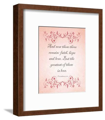 1 Corinthians 13:13 Faith, Hope and Love (Pink)-Inspire Me-Framed Art Print