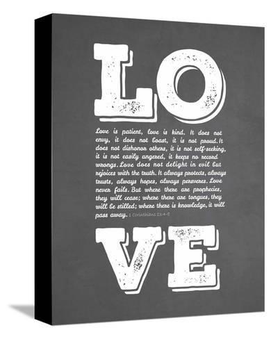 Corinthians 13:4-8 Love is Patient - Chalkboard-Inspire Me-Stretched Canvas Print