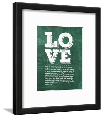 Corinthians 13:4-8 Love is Patient - Green-Inspire Me-Framed Art Print