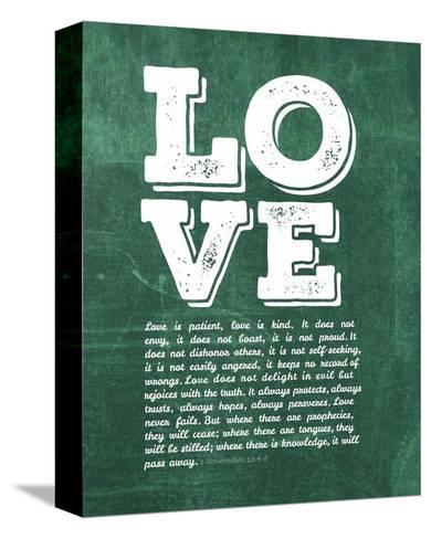 Corinthians 13:4-8 Love is Patient - Green-Inspire Me-Stretched Canvas Print