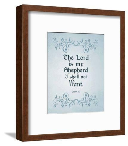 Psalm 23 The Lord is My Shepherd - Blue-Inspire Me-Framed Art Print