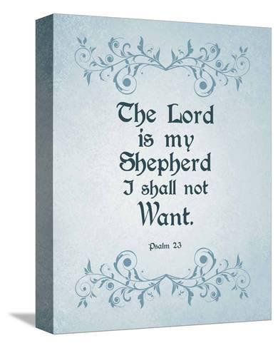 Psalm 23 The Lord is My Shepherd - Blue-Inspire Me-Stretched Canvas Print