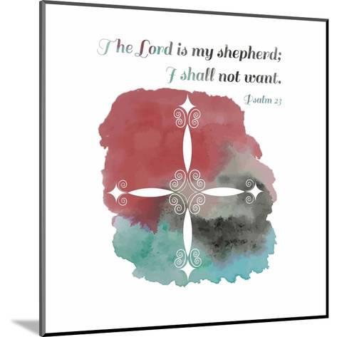 Psalm 23 The Lord is My Shepherd - Cross 2-Inspire Me-Mounted Art Print