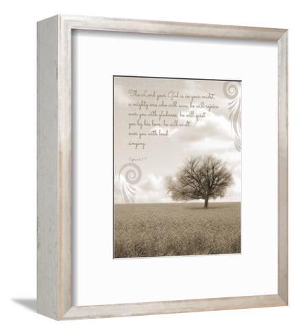 Zephaniah 3:17 The Lord Your God (Grey Landscape)-Inspire Me-Framed Art Print