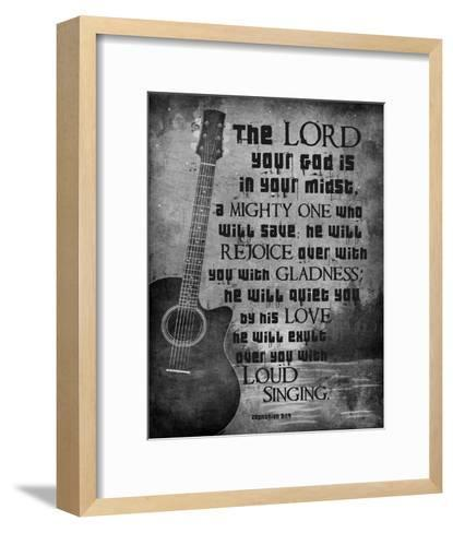 Zephaniah 3:17 The Lord Your God (Guitar Black & White)-Inspire Me-Framed Art Print