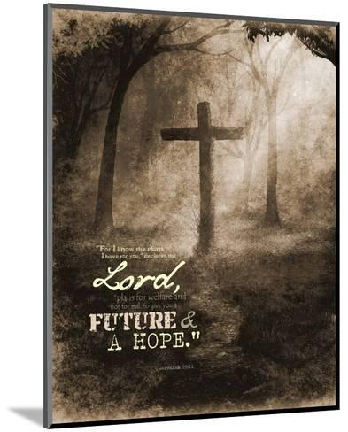 Jeremiah 29:11 For I know the Plans I have for You (Sepia Cross)-Inspire Me-Mounted Art Print